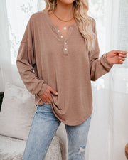 Maggie Relaxed Knit Henley Top - Mocha view 3