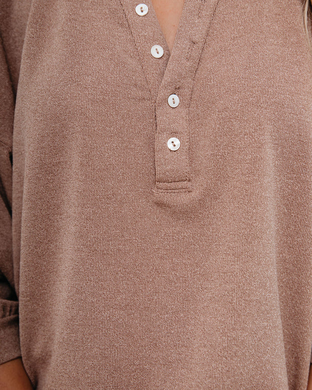 Maggie Relaxed Knit Henley Top - Mocha view 4