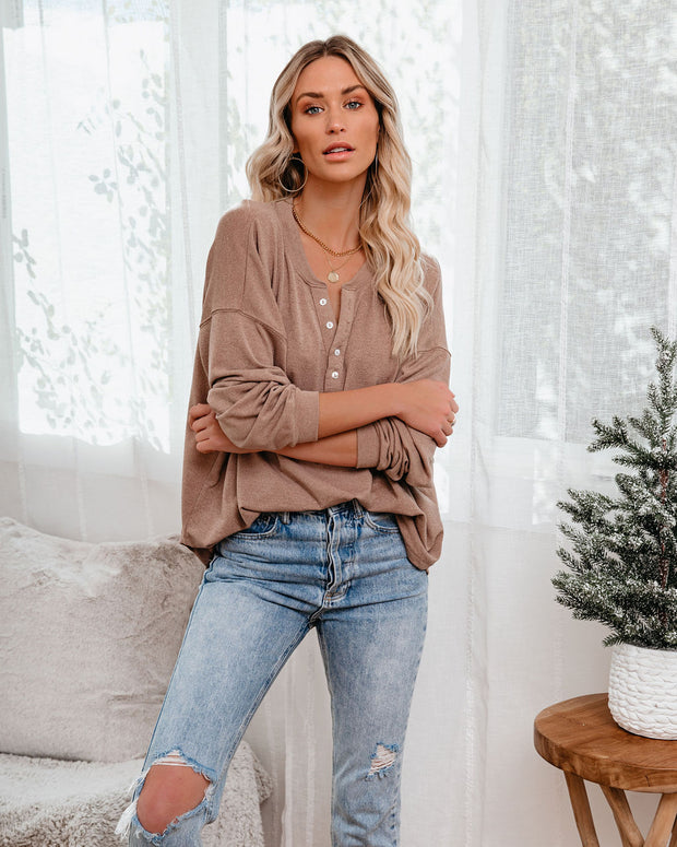 Maggie Relaxed Knit Henley Top - Mocha view 5