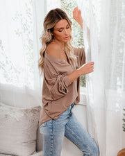 Maggie Relaxed Knit Henley Top - Mocha view 11