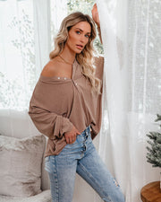 Maggie Relaxed Knit Henley Top - Mocha view 1