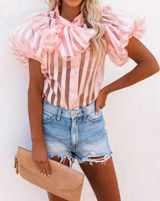 Maiden Lane Striped Puff Sleeve Tie Blouse - FINAL SALE