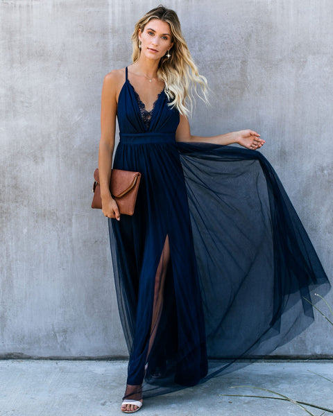 Main Event Lace Tulle Maxi Dress - Navy
