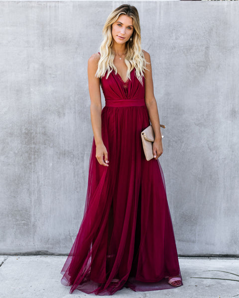 high quality guarantee top brands special promotion Main Event Lace Tulle Maxi Dress - Wine