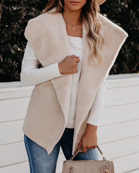 Make Snow Angels Faux Fur Shawl Vest - Beige  - FINAL SALE