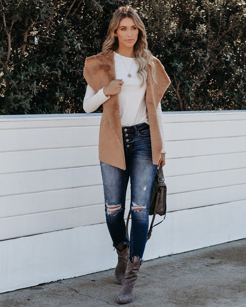 Make Snow Angels Faux Fur Shawl Vest - Camel  - FINAL SALE