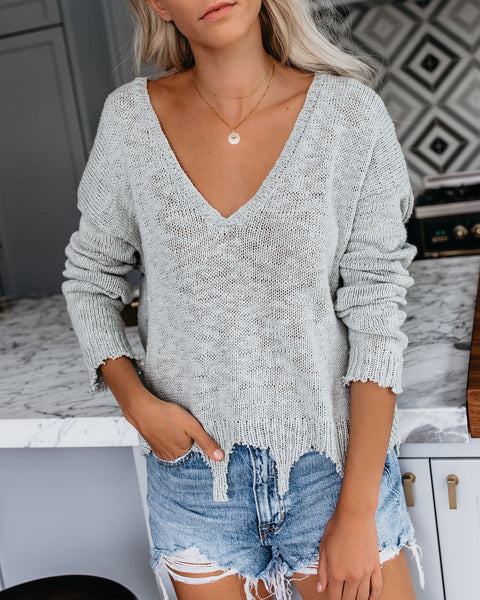 Makes Waves Cotton Distressed Light Knit Sweater - Sage