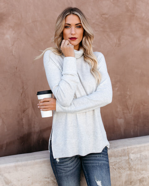 Making Spirits Bright Turtleneck Brushed Knit Top - Light Grey