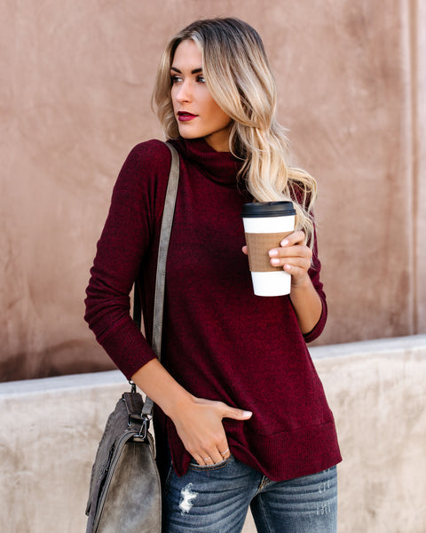 Making Spirits Bright Turtleneck Brushed Knit Top - Wine
