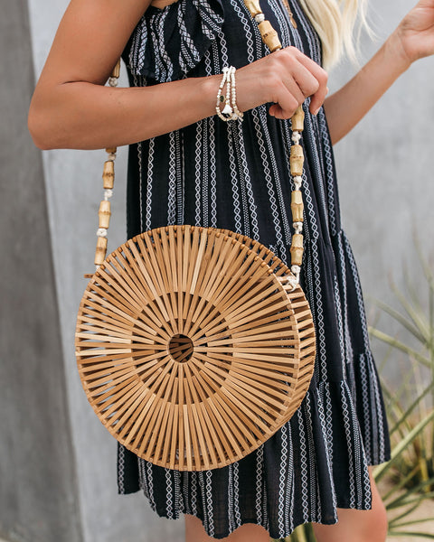 Maldives Circular Bamboo Handbag - Tan - FINAL SALE