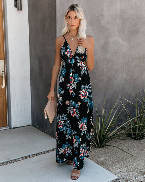 Maleficent Floral Cutout Tie Maxi Dress - FINAL SALE