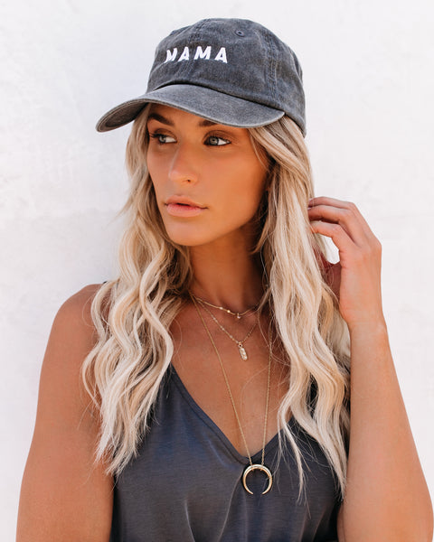 Mama Baseball Hat - Washed Black