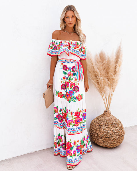 Mamanuca Floral Off The Shoulder Maxi Dress