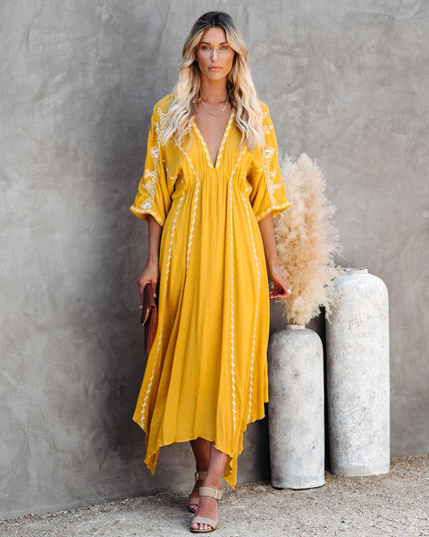 Maple Sun Kimono Midi Dress - Yellow