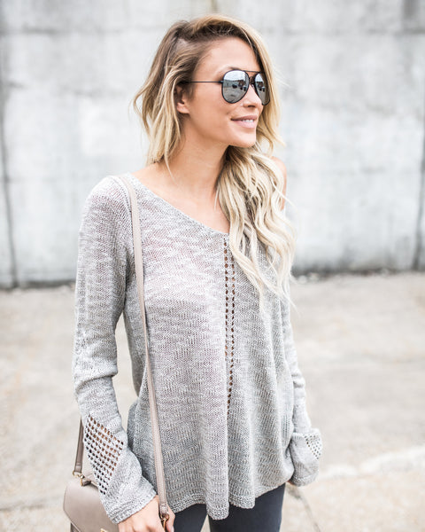 Mara Knit Sweater - Light Grey - FINAL SALE
