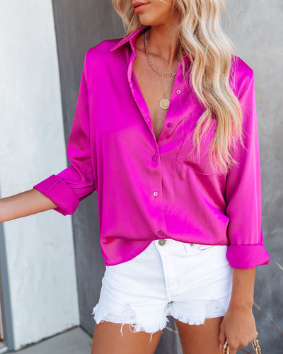 Margarita Satin Button Down Blouse