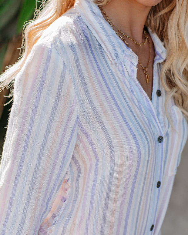 Margaritaville Striped Button Down Frayed Tie Top - FINAL SALE