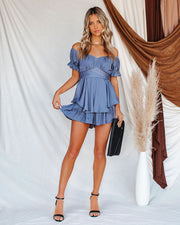 Margot Satin Off The Shoulder Romper - Dusty Blue