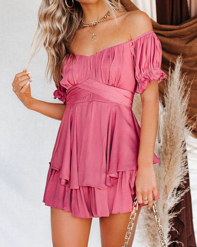 Margot Satin Off The Shoulder Romper - Rose