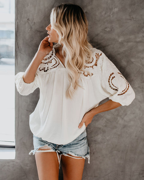 Marina Crochet Lace Blouse - Cream