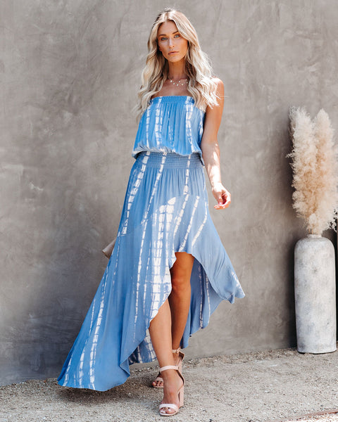 Marine Strapless Tie Dye Asymmetrical Dress