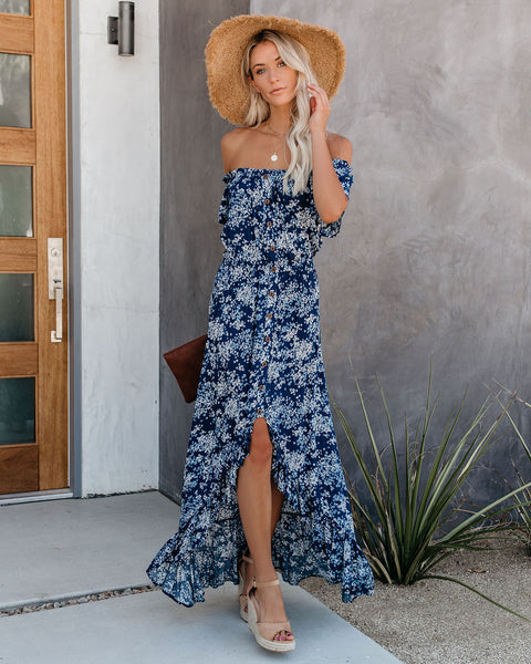 Marisol Off The Shoulder High Low Maxi Dress - Blue