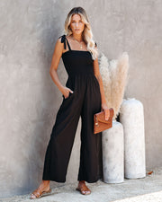 Marjorie Pocketed Smocked Tie Jumpsuit