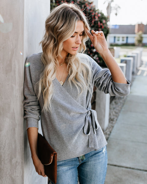 Marjorie Wrap Sweater - Heather Grey - FINAL SALE