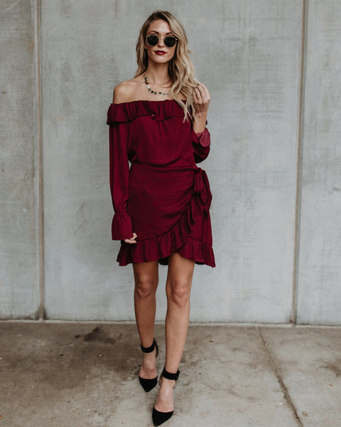 Bisou Off The Shoulder Ruffle Dress - Wine