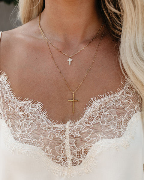 MARRIN COSTELLO - Double Cross Gold Layered Necklace