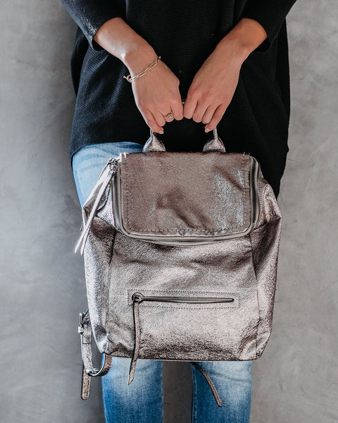 Mars Metallic Faux Leather Backpack - Pewter