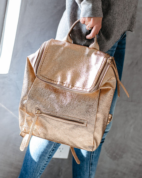 Mars Metallic Faux Leather Backpack - Rose Gold