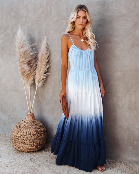 Maritime Tiered Ombre Maxi Dress