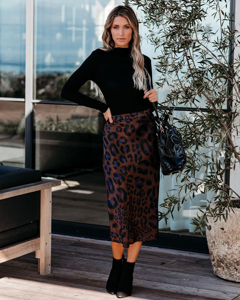 Marvelous Satin Leopard Midi Skirt