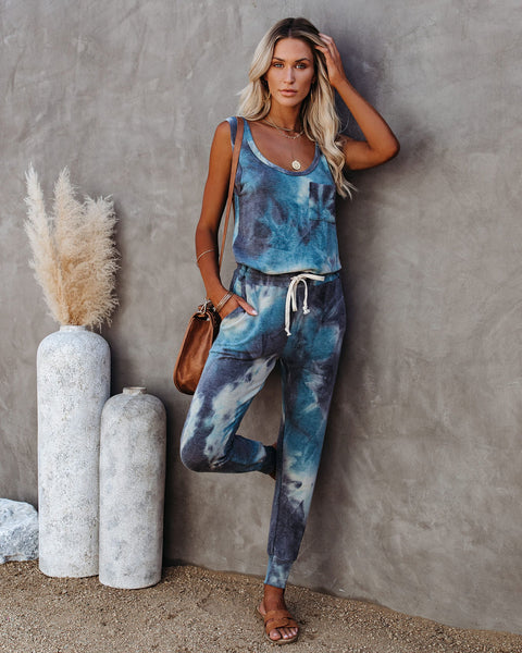 Mase Pocketed Tie Dye Knit Jumpsuit
