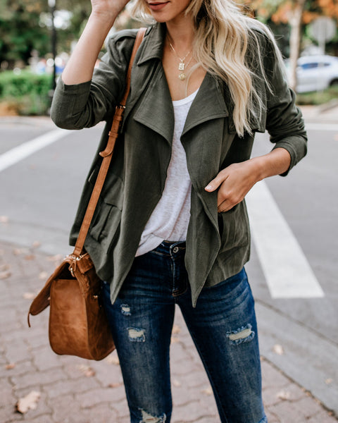 Maven Cotton Pocketed Jacket - Olive