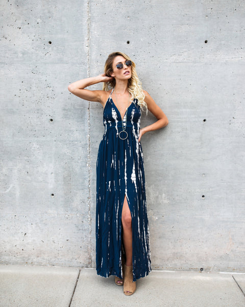 Maven Tie Dye Halter Maxi Dress - Navy - FINAL SALE