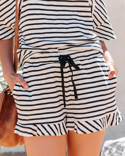 Maxanne Cotton Pocketed Striped Ruffle Shorts - Black