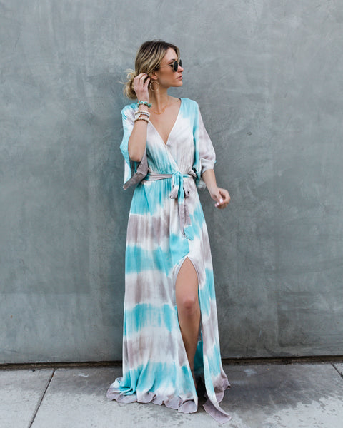 Ocean Breeze Kimono Maxi Dress