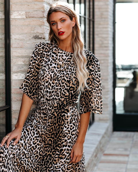 Maynard Asymmetrical Leopard Midi Dress - FINAL SALE