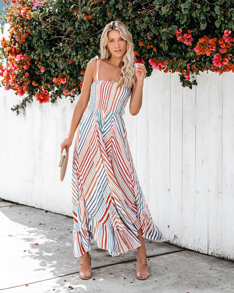 Mazatlan Smocked Asymmetrical Tie Maxi Dress