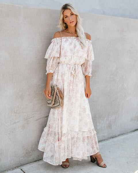 a1c64db1de74 Meadow Lane Off The Shoulder Ruffle Maxi Dress