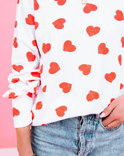 Means So Much Heart Print Knit Top