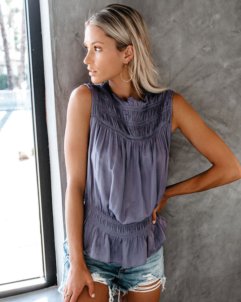 Meet For Drinks Smocked Sleeveless Blouse - Orchid