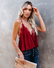 Meet Your Match Crop Lace Drape Tank - Red