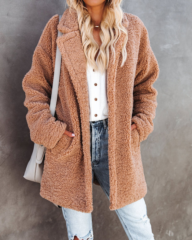 Melbourne Pocketed Teddy Coat - Camel