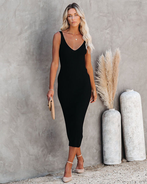 Melbourne Ribbed Knit Midi Dress - Black
