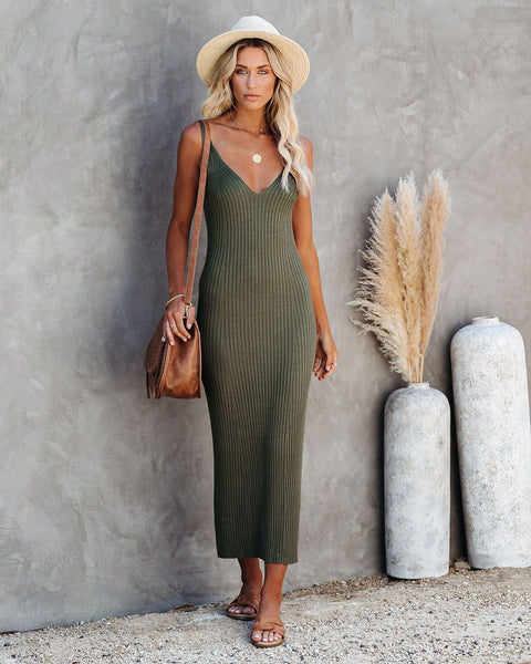 Melbourne Ribbed Knit Midi Dress - Olive