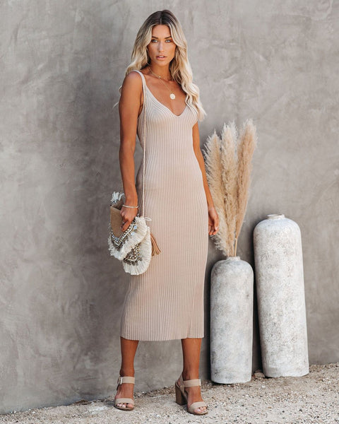 Melbourne Ribbed Knit Midi Dress - Taupe