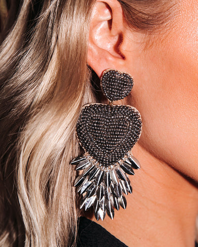 Melina Beaded Metallic Statement Earrings